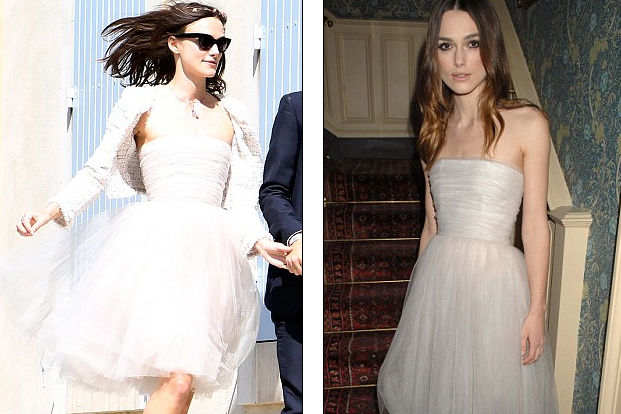Keira Knightly recycled her wedding dress. Spotted in same gown FIVE years ago