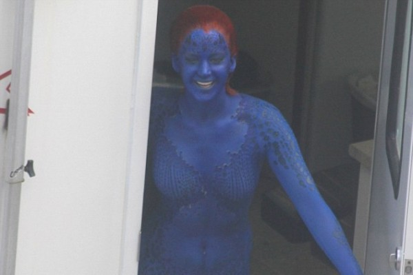Is Jennifer Lawrence naked under that blue body paint? – on set of X-Men: Days Of Future Past