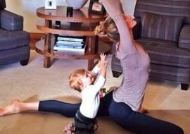 Gisele Bundchen, 33, teaching baby daughter Vivian, almost 1, yoga (too young?)