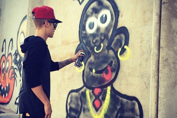 Is Justin Bieber's Graffiti 'Art' Racist? (look at the image – what do you think?)