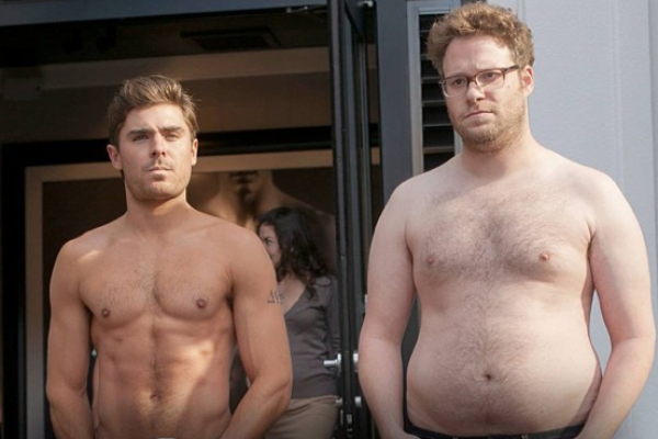 Zac Efron and Seth Rogen topless (who would you rather?)