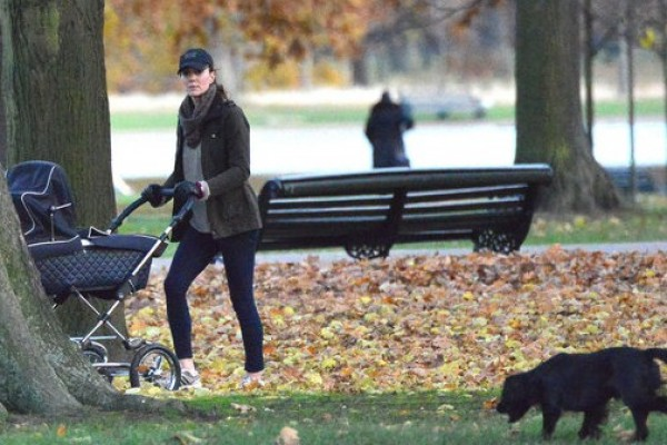 Kate Middleton was photographed pushing Prince George in a stroller.