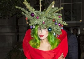 Lady Gaga wore a bit of a Christmas tree on her head