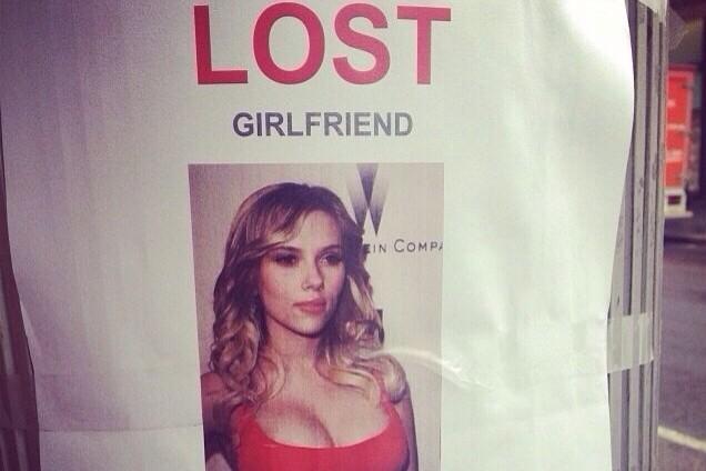 Man Posts 'Lost Girlfriend' Flier Featuring Scarlett Johansson