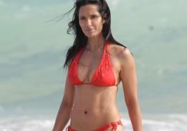 Padma Lakshmi, 43, Rocking An Orange Bikini In Miami