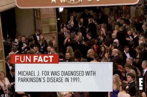 "E! lists Michael J. Fox's Parkinson's diagnosis as a ""fun fact"" during Golden Globes"